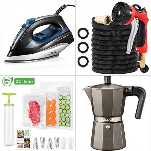 [Amazon折扣碼] 蒸氣熨斗, 伸縮澆花水管, 可重覆使用真空袋, 爐式咖啡壺 額外折扣!