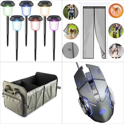 [Amazon折扣碼] 太陽能自動開關彩色庭園燈, 磁性紗門, 汽車收納箱, 遊戲滑鼠 額外折扣!