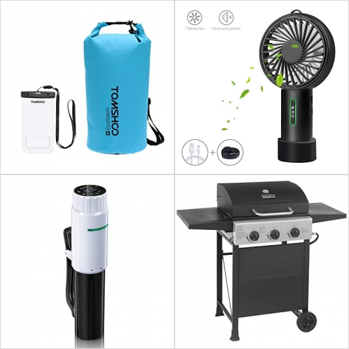[Amazon折扣碼] 20L防水袋及手機防水袋, 手持風扇, Sous Vide Cooker低温慢煮機, BBQ烤肉爐 額外折扣!
