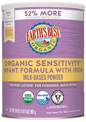 ihocon: Earth's Best Organic Low Lactose Sensitivity Infant Formula with Iron, Omega-3 DHA & Omega-6 ARA, 35.0 Ounce (Packaging May Vary) 有機低乳糖嬰兒奶粉