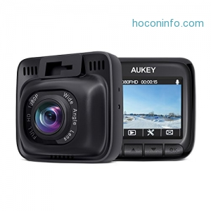 ihocon: Aukey DR-01 Full HD 1080p Car Dashboard Camera Recorder with 6-Lane 170-Degree Wide Angle Lens, 2 LCD 行車記錄器