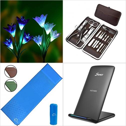 [Amazon折扣碼] 太陽能7色變換百合花燈, 12 PCS指甲剪, 自動充氣睡墊, 無線手機充電板 額外折扣!