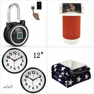 [Amazon折扣碼] -指紋/手機解鎖科計鎖, 藍芽Speaker, 靜音壁鐘, 保暖蓋毯 額外折扣!