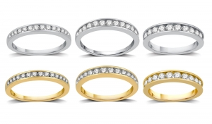 ihocon: 1/4–1 CTTW Diamond Channel Wedding Band In 10K Gold By DeCarat