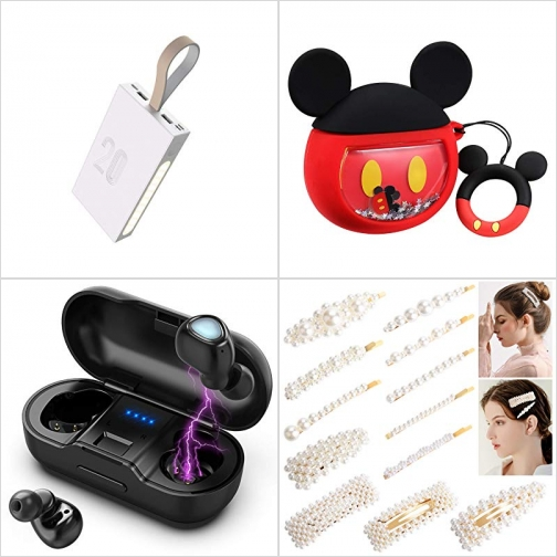 [Amazon折扣碼] 20000mAh行動電源/充電寶, Airpods盒套, 真無線耳機, 珠珠髮 額外折扣!