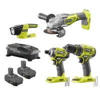 ihocon: RYOBI 18-Volt ONE+ Li-Ion Brushless 4-Tool Combo Kit with Drill