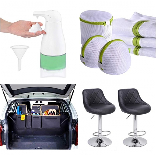 [Amazon折扣碼] 泡沫式自動給皂機, 洗衣袋,  汽車收納箱, 吧台高腳椅 額外折扣!