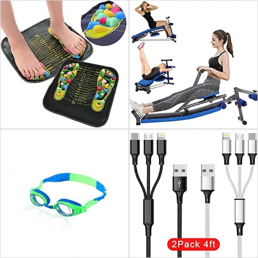 [Amazon折扣碼] 足部按摩墊, 多功能健身器材, 游泳蛙鏡, 3合1充電線 額外折扣!