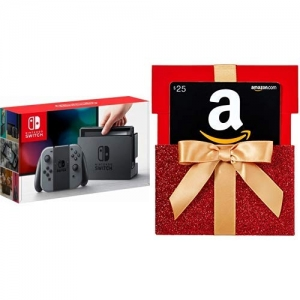 Nintendo Switch (Gray Joy-Con) + $25 Amazon Gift Card $299.99免運