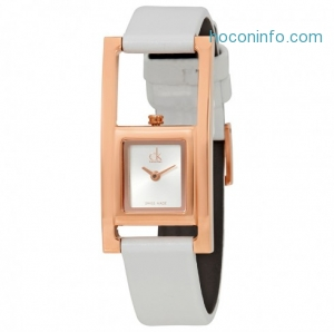 ihocon: CALVIN KLEIN Unexpected Silver Dial White Leather Ladies Watch, K4H436L6真皮錶帶女錶