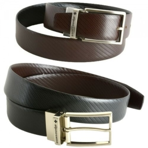 ihocon: Alpine Swiss Mens Dress Belt Reversible Black Brown Leather Imported from Spain 西班牙進口男士雙面皮帶(黑色/棕色)