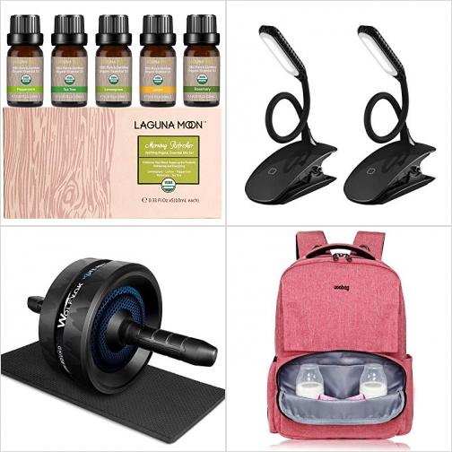 [Amazon折扣碼] 有機精油5瓶, 夾式充電書燈2個, 運動滾輪及膝墊, 尿片背包/媽媽包 額外折扣!