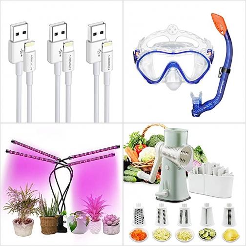 [Amazon折扣碼] iPhone充電線, 兒童浮潛面罩, 植物生長燈, 蔬菜切絲切片器 額外折扣!