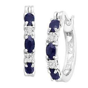 ihocon: 2 1/10 ct Natural Sapphire Hoop Earrings with Diamonds in Platinum-Plate<wbr/>d Brass 2 1/10克拉天然藍寶石+鑽石耳環
