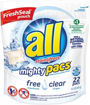 ihocon: all Mighty Pacs Laundry Detergent, Free Clear for Sensitive Skin, Unscented, Pouch, 22 Count 洗衣膠囊 22個