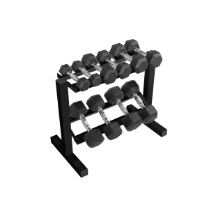 ihocon: CAP 150 lb Rubber Hex Dumbbell Weight Set, 5-25 lb with Black Rack 啞鈴及收納架