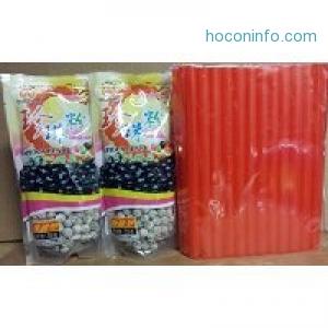 ihocon: BOBA Black Tapioca Pearl Bubble Tea, 2 Pack + 50 BOBA Straws