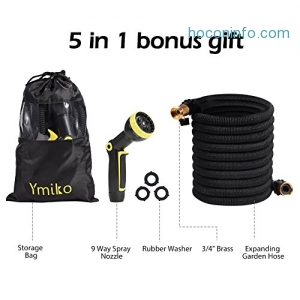 ihocon: Ymiko 50ft Expandable Garden Hose with 9 Way Spray Nozzle澆花水管+噴水頭