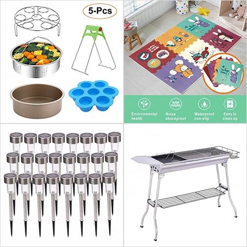 [Amazon折扣碼] 電壓鍋配件, 兒童遊戲墊, 太陽能庭園燈, BBQ烤肉架 額外折扣!