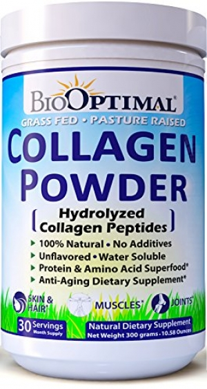 ihocon: BioOptimal Collagen Powder, Collagen Peptides Grass Fed, Non-GMO Premium Quality Hydrolyzed Collagen Protein, Pasture Raised, Dissolves Easily, 300 Grams膠原蛋白粉