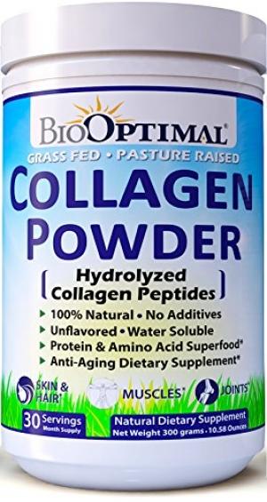 ihocon: BioOptimal Collagen Powder, Collagen Peptides Grass Fed, Non-GMO Premium Quality Hydrolyzed Collagen Protein, Pasture Raised, Dissolves Easily, 300 Grams膠原蛋白粉
