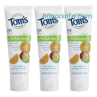 ihocon: Tom's of Maine Anticavity Fluoride Children's Toothpaste, Outrageous Orange-Mango, 4.2 Ounce, 3 Count兒童防蛀牙牙膏