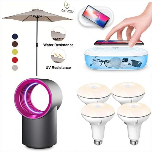 [Amazon折扣碼] 9呎遮陽傘, 紫外線手機消毒盒, 室內電蚊/蟲燈, Sengled動作感應LED燈泡  額外折扣!