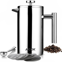 ihocon: Aicok Double Wall Stainless Steel French Press Coffee Maker,  34 oz / 1L with 5 Bonus Screens and Scoop雙層不銹鋼法式壓濾咖啡壺/濾茶壺 + 5片濾網 + 湯匙