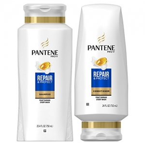 ihocon: Pantene Argan Oil Shampoo 25.4 OZ and Sulfate Free Conditioner 24 OZ for Damaged Hair, Repair and Protect, Bundle Pack 摩洛哥堅果油洗髮精+護髮乳