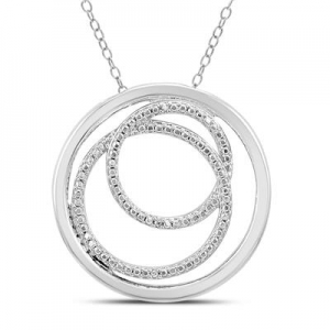 ihocon: RIBBON KNOT DIAMOND PENDANT IN .925 STERLING SILVER 純銀碎鑽項鍊