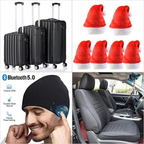 [Amazon折扣碼] 硬殼行李箱, 聖誕帽, 內建藍芽耳機毛線帽, 汽車椅套 額外折扣!
