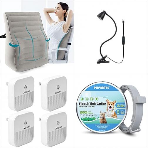 [Amazon折扣碼] 充氣式腰枕, LED桌燈, LED夜燈, 寵物防蚤頸圈 額外折扣!