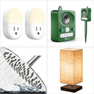 [Amazon折扣碼] 智能聲控夜燈插座, 太陽能超音波動作感應動物驅離器, 淋浴shower head, 桌燈 額外折扣!
