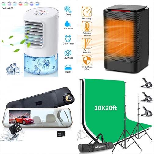 [Amazon折扣碼]小型水冷扇, 小型電暖氣, 行車記錄器, 背影架及背景布 額外折扣!