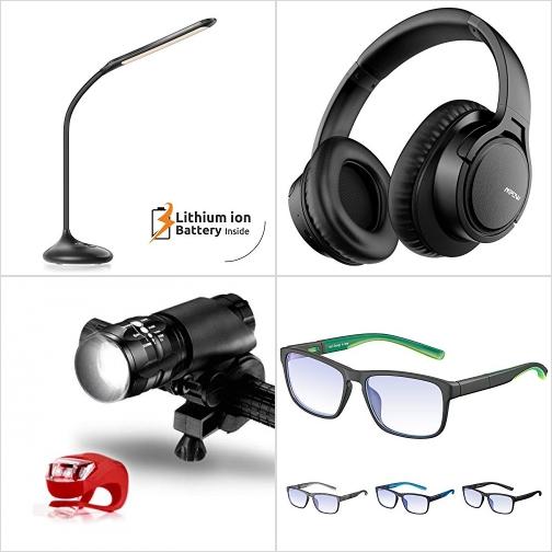 [Amazon折扣碼] LED光線微調護眼桌燈, 藍芽無線耳機, LED腳踏車燈, 抗藍光眼鏡 額外折扣!