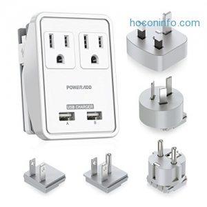 ihocon: Poweradd Dual Smart USB Ports 2AC Outlets Wall Charger 萬用旅行插座-適用世界各地電壓