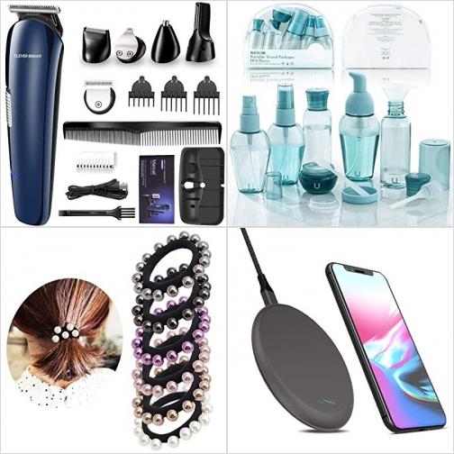 [Amazon折扣碼] 無線理髮/修容器, 化妝品分裝瓶, 珠珠綁髮帶, 手機無線充電板 額外折扣!
