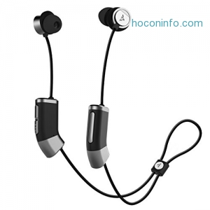 ihocon: Zipbuds 26 Bluetooth Wireless Custom Fit In-Ear Headphones: HD Stereo Sound Waterproof Sweatproof 15-Hour Supercharged Battery (Black & Space Gray)