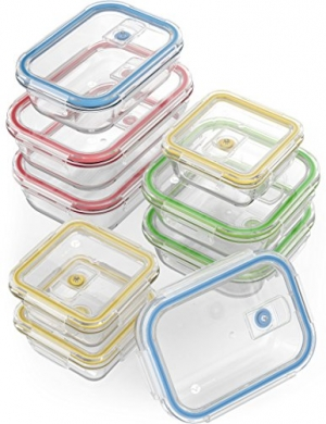 ihocon: Vremi 18 Piece Glass Food Storage Containers with Locking Lids玻璃保鮮盒