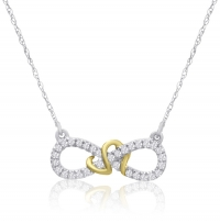 ihocon: 0.15 CARAT DIAMOND INFINITY NECKLACE IN TWO TONE GOLD 10K金0.15克拉鑽石項鍊