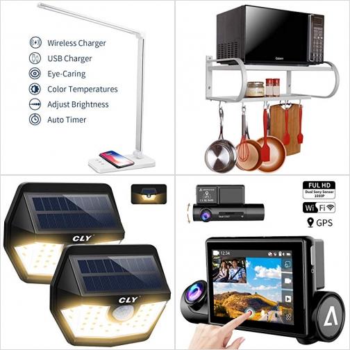 [Amazon折扣碼] LED桌燈, 廚房置物吊架, 太陽能LED庭園燈, 雙鏡頭行車記錄器 額外折扣!