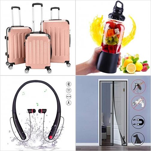 [Amazon折扣碼] 硬殼行李箱, 充電式隨身果汁機, 藍芽無線耳機, 磁性紗門 額外折扣!