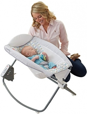 ihocon: Fisher-Price Auto Rock n Play Sleeper, Aqua Stone電動搖籃