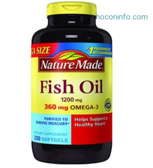 ihocon: Nature Made Fish Oil 1200 mg w. Omega-3 360 mg Softgels Mega Size 230 Ct
