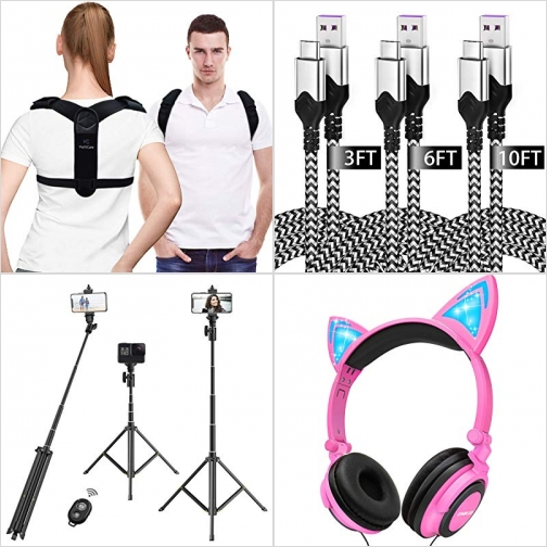 [Amazon折扣碼] 姿勢矯正帶, USB C 充電線, 自拍桿, 兒童耳機 額外折扣!