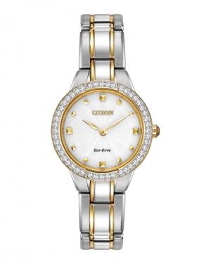 ihocon: Citizen 26mm Crystal Eco-Drive Bracelet Watch, Two-Tone 光動能水晶女錶