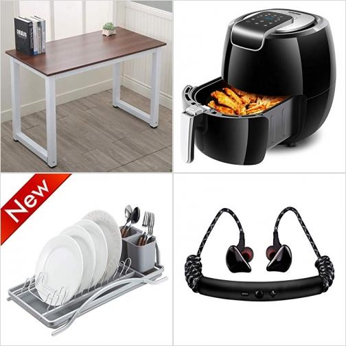 [Amazon折扣碼] 電腦桌/書桌, 氣炸鍋,  碗盤 (8/30止), 藍芽無線耳機 額外折扣!