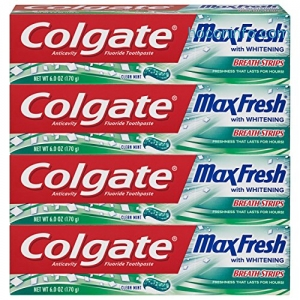 ihocon: Colgate Max Fresh Whitening Toothpaste with Breath Strips, Clean Mint - 6 ounce (4 Count)牙齒美白牙膏