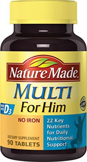ihocon: Nature Made Multi for Him Tablets w. D3-22 Essential Vitamins & Minerals 90 Ct