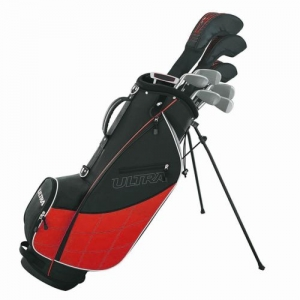 ihocon: Wilson Ultra Men's Complete 13 Piece Right Handed Golf Club Set & Stand, Red